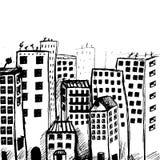 Opinión dibujada mano de la ciudad del garabato ilustración del vector