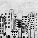 Opinión dibujada mano de la ciudad del garabato stock de ilustración