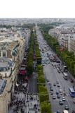 Opinión el campeón Elysee de Arc de Triomphe Fotos de archivo libres de regalías