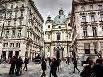 Opinión el Graben, una de las calles principales de Viena imagen de archivo libre de regalías