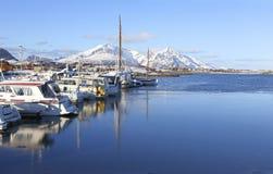 Opinión el infante de marina en invierno Yates de la navegación Fiordo noruego Paisaje natural Ubicación: Islas Noruega de Lofote imagen de archivo libre de regalías