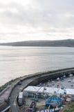 Opinión el puerto y Ferris Wheel de Scarborough imágenes de archivo libres de regalías