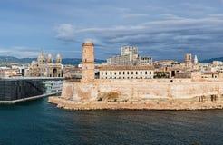 Opinión el santo Jean del puerto viejo y del fuerte en Marsella imagenes de archivo