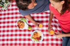 Opinión elevada dos amigos sonrientes como mienten en una manta con una comida campestre Imagenes de archivo