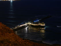 Opinión escénica de la noche al restaurante de Rosa Nautica del La, Lima Fotos de archivo