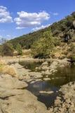 Opinión escénica del paisaje del campo de una corriente del agua dulce Imagen de archivo libre de regalías