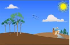 Opinión escénica del paisaje del vector. Fotografía de archivo