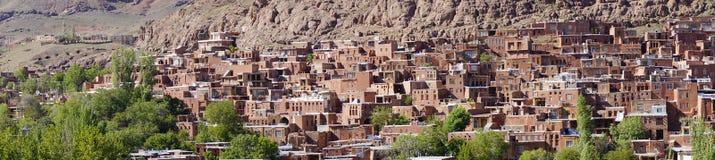 """Opinión escénica del panorama del †de Abyaneh """"el pueblo rojo antiguo hermoso de Irán Foto de archivo"""