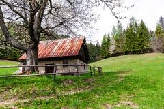 Opinión escénica sobre la casa al lado del pasto Imagen de archivo libre de regalías