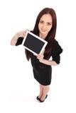 Opinión feliz del adolescente del estudiante desde arriba y mostrando una tableta Fotografía de archivo