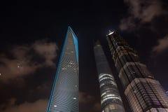 Opinión financiera de la noche del ditrict de Shangai en blanco y negro Foto de archivo