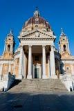 Opinión frontal de Basilica di Superga, Turín Foto de archivo
