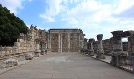 Opinión frontal de la sinagoga de Capernaum, Israel foto de archivo libre de regalías