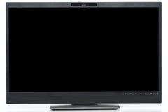 Opinión frontal sobre soporte moderno del ½ del ¿del ï de la pantalla de ordenador en la posición baja foto de archivo