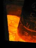 Opinión fundida del baño de la escoria en metalurgia imagen de archivo libre de regalías