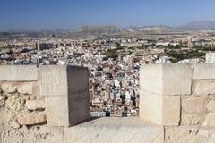 Opinión general de la ciudad del castillo de Santa Barbara Alicante, España imagen de archivo libre de regalías