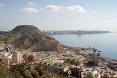 Opinión general sobre Alicante del castillo Santa Barbara Imagenes de archivo