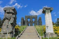 opinión georgiana de la historia del monumento con la escalera y las columnas Imagen de archivo