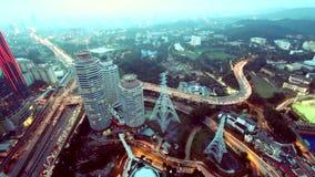 Opinión grande de la ciudad del rascacielos almacen de metraje de vídeo