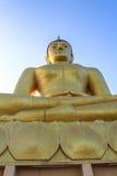 Opinión grande de oro de Buda y del Mekong por la mañana en Champasak, S Imagenes de archivo