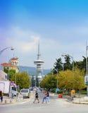 Opinión Grecia de la torre de Salónica OTE Imagen de archivo libre de regalías
