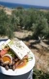 Opinión griega de la ensalada de la granja y del mar imagen de archivo