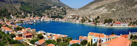 Opinión griega del panorama de Kastellorizo de la isla Imagenes de archivo