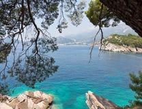 Opinión hermosa de la costa costa con agua verdemar Imagen de archivo