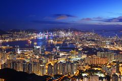 Opinión hermosa de la noche de Hong Kong imagen de archivo libre de regalías