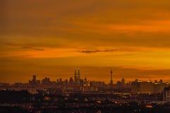 Opinión hermosa de la puesta del sol sobre Kuala Lumpur, Malasia Fotos de archivo