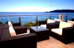 Opinión hermosa de la terraza del paisaje marino mediterráneo Fotografía de archivo