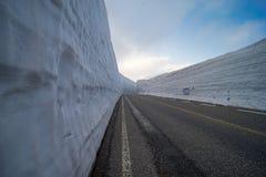 Opinión hermosa del paisaje de la pared gigante de la nieve, Tateyama Rou alpino imagen de archivo libre de regalías
