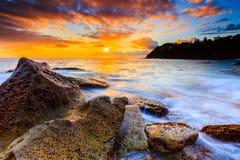 Opinión hermosa del paisaje marino de la salida del sol Fotos de archivo libres de regalías