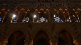 Opinión interior Notre Dame de Paris Foto de archivo libre de regalías