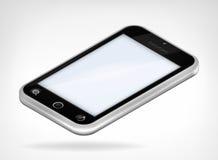 Opinión isométrica aislada del teléfono elegante negro de la cubierta Fotos de archivo