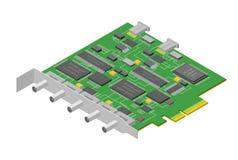 Opinión isométrica de la PC componente electrónica de la placa de circuito del ordenador Vector libre illustration