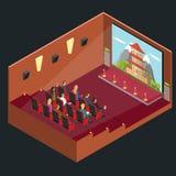 Opinión isométrica del auditorio interior de la película del cine Vector stock de ilustración