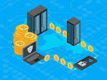 Opinión isométrica del concepto 3d de la explotación minera de Bitcoin Vector Foto de archivo libre de regalías