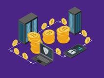Opinión isométrica del concepto 3d de la explotación minera de Bitcoin Vector Fotos de archivo libres de regalías