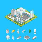 Opinión isométrica del concepto 3d de la fábrica y de los elementos Vector ilustración del vector
