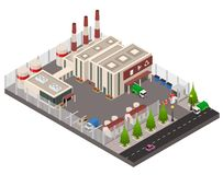 Opinión isométrica del concepto 3d de la planta de reciclaje Vector stock de ilustración
