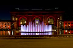 Opinión Kansas Missouri de la noche de la estación de la unión fotografía de archivo