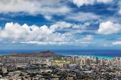 Opinión la ciudad, Waikiki y Diamond Head de Honolulu del puesto de observación de Tantalus, Oahu imagenes de archivo