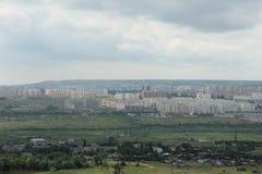 Opinión la parte norteña de la ciudad de Saratov de la altura de 199 metros Imágenes de archivo libres de regalías