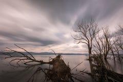 Opinión larga de la exposición de un lago en la oscuridad, con perfectamente aún agua Fotografía de archivo libre de regalías
