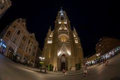 Opinión Liberty Square, Novi Sad, Serbia de la noche Foto de archivo libre de regalías