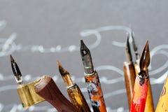 Opinión macra de la colección de la semilla de las plumas, concepto caligráfico de las herramientas Profundidad del campo baja Imagen de archivo libre de regalías