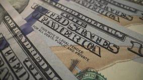 Opinión macra del efectivo de USD efectivo verde de 100 dólares - pare la animación del movimiento Dinero de los E.E.U.U. autoriz almacen de metraje de vídeo