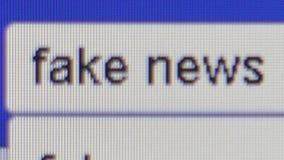 Opinión macra del nivel del pixel de un ` que mecanografía del usuario ` falso de las noticias en la barra de la búsqueda en Face metrajes