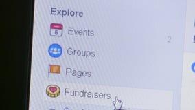 Opinión macra un usuario que selecciona y que decide sobre evento, grupos, páginas y más en la barra lateral de Facebook almacen de video